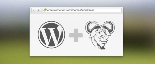 Graphic with GPL and WordPress logos