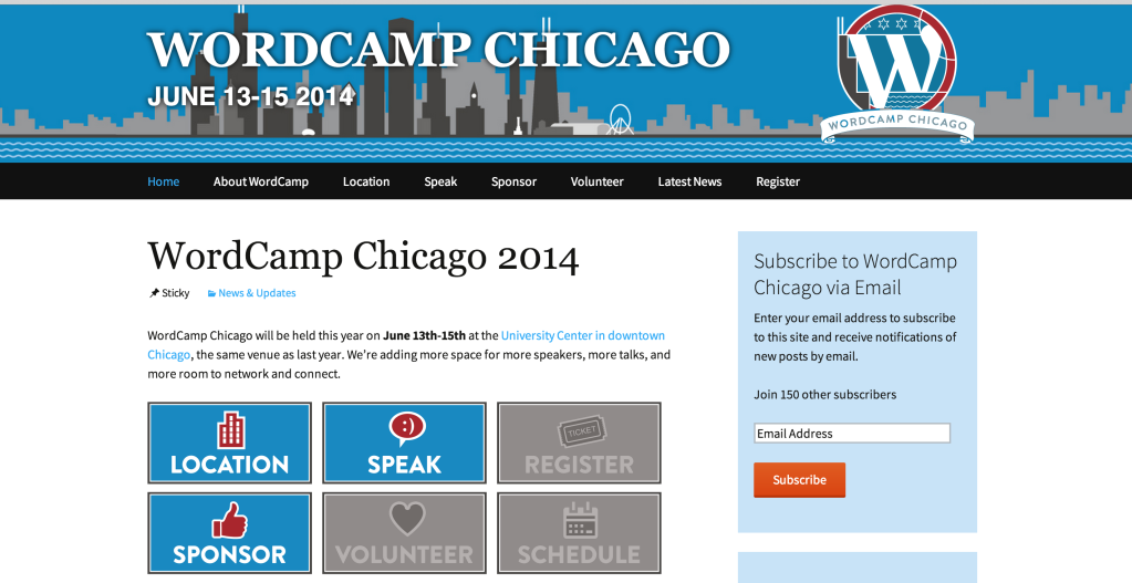 WordCamp Chicago Sign Up Navigation