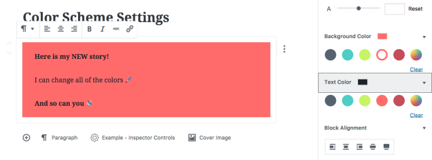 Example of custom color scheme applied to WordPress blocks